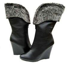 Women's BOOTS Black Fashion Mid-Calf FUR shoes ladies size 5.5
