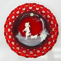 WESTMORELAND Ruby Red Signed S Miller 1979 Vintage Glass Plate PERFECT