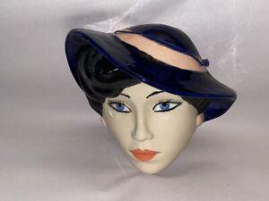 Vintage Pottery Ceramic Mask Wall Decoration Old Fashion Lady Hat