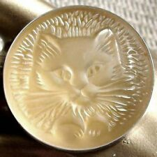 LALIQUE Opalescent BROOCH PERSIAN CAT Poured Crystal Impressive & Excellent !