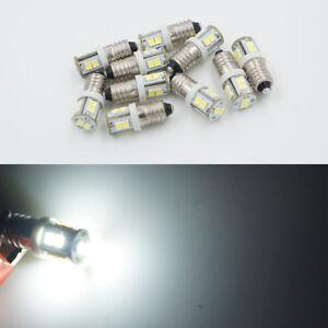 NEW 10pcs E10 1447 style Screw 10 LED SMD 6V White Bulb Light DIY LIONEL