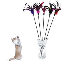 Fun Kitten Toy Cat Feather Bell Wand Teaser Rod Bead Play Pet Ball Toys FA