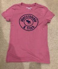GIRLS ABERCROMBIE KIDS PINK T-SHIRT WITH NAVY LOGO SIZE 13-14 YEARS
