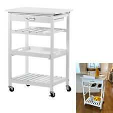 Rolling 4-Tier Wood Kitchen Storage Cart Serving Tray Wine Rack Drawer, White