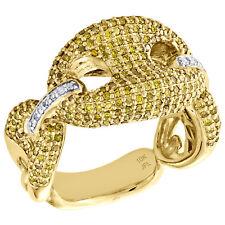 10K Yellow Gold Puff Gucci Link Yellow Diamond Pinky Ring 14mm Fancy Band 1.8 CT