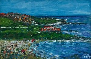 """Original Oil Painting by Pro Hart MBE (1928 – 2006) """"Coogee Beach"""""""
