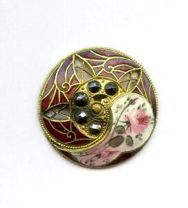 "GORGEOUS ANTIQUE ENAMEL button--CUT STEELS--PIERCED--PINK ROSE & BUD--1 1/4"""