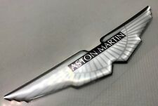 1x Silver Aston Martin Wings Logo 3D Domed Sticker. Size 120x26mm.