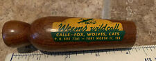 Vtg unused? Wood Weems Wildcall Duck Call Fox Wolves Cats Ft Worth Tx
