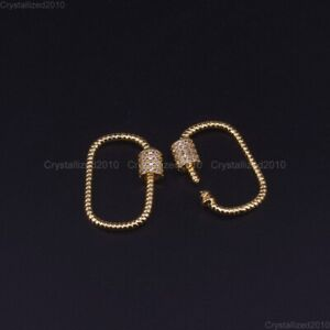 Zircon Gemstones Pave Jewelry Crafts Bracelet Connector Charm Beads Silver Gold