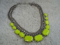 Silvertone Neon Yellow-Green Acrylic  Necklace (D47)