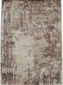 Brown Distressed Floral Design 4X6 Hand-Loomed Modern Rug Contemporary Carpet