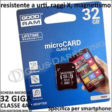 SCHEDA MEMORIA RAM MICRO SD 32 GB CLASSE 4A+ PER LG OPTIMUS F6 D500 D505