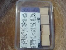 Unmounted Stampin Up Rubber Stamp Very Punny Retired Stamp Set Animal Frog Bird