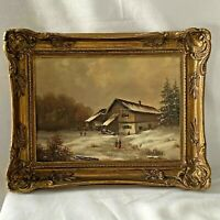 DUTCH OIL Painting On Board Sorensen Gold Wood Frame Winter Landscape Farm Scene