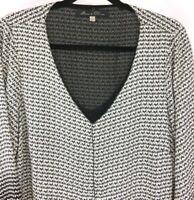 ROSE & OLIVE Popover Tunic Blouse Womens 1X Semi Sheer  Black Gray Chevron Print