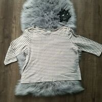 J Jill Brown White Striped Knit Long Sleeve Blouse Shirt Casual Women's Medium