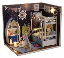 Kits DIY Wood Dollhouse miniature with Furniture Dolls House Gift Look up to Sky