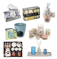 Ceramic Oil Burner Gift Set With Scented Glass Candle And Wax Melts Aromatic