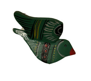 Vintage Taiwan Bird Folk Art Hand Painted Wooden Wood  Ornament Red Bird