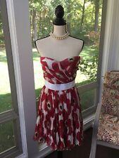 DOLCE & GABBANA ITALY Silk Strapless Dress Poppy Accordion Pleat Size 42 EUC