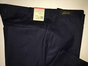 M&S SAVILE ROW INSPIRED Navy Textured Tailored Fit Wool Trousers  PRP £159