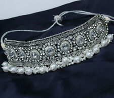 Indian Bollywood Silver Pearl Choker Necklace Earring Tikka Wedding Jewelry Set