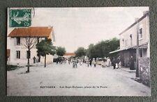 CPA. EQUISSES. 71 - Les Sept Écluses, place de la Poste. 1908. PTT.