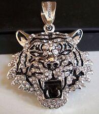 Men's Silver finish Rapper style Hip Hop Bling Ice Out LION fashion pendant