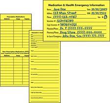 10 Medication & Health Emergency Information Cards