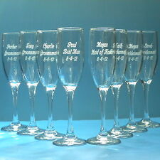 6 Wedding Champagne Flutes, Engraved Bridesmaid, Groomsman Glasses Personalized