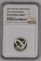 2007 Great Britain Silver Proof Piedfort £1 Millennium Bridge NGC PF69UC Thick