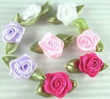 120 MIxed Satin Ribbon Rose with Leaf Appliques - Trim R001