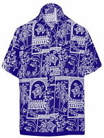LA LEELA Men's Camp Hawaiian Shirt Beach Aloha Party Short Sleeve XS Blue_W468