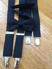 PRETEEN BOYS  BLACK  SATIN BOW & BLACK SUSPENDERS - BRAND NEW! MADE IN THE USA