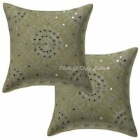 Indian Cushion Cover Art Deco Embroidered Light Green Cotton Ethnic Pillow Cover