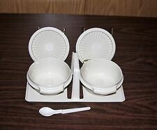Tupperware Servalier Condiment Bowls With Tray & Spoon