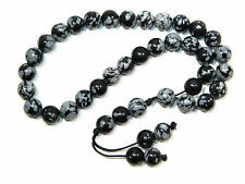 0030 - Beautiful Prayer Worry Beads 33 x 8mm Snowflake Obsidian Gemstone Beads