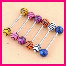 LOT DE 6 PIERCING LANGUE ZEBRE TIGRE TIGER ZEBRA LEOPARD PRINT BARBELL TONGUE