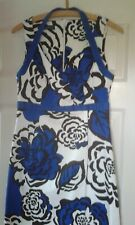 Quality SANDRO FERRONE Black Royal Blue White Floral Shift Dress Label Size 44