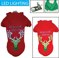 LED Lighting Christmas Reindeer Hooded Sweater Pet Dog Sweater Costume