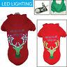 LED Lighting Christmas Reindeer Hooded Sweater Pet Dog Sweater Costume