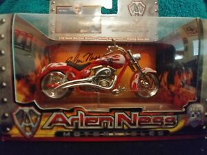 Arlen Ness Diecast Motorcycle 1/18 Scale Red w/ WHite Flames
