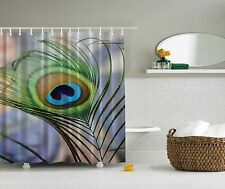 Natural Peacock Feather Wildlife Tropical Shower Curtain Extra Long 84 Inch