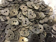 50 pcs Heart Shape Old Metal Buttons Antique Brass  2hole  13mm 20L