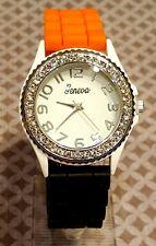 Team School Spirit Orange & Black Silicone Wrist Watch White Rhinestone Silver
