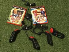 PLAYSTATION 2 PS2 BUZZ BUNDLE 4 BUZZER'S & 2 GAMES THE MUSIC & THE SPORTS QUIZ