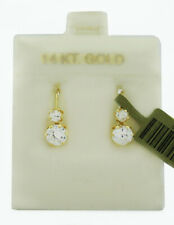 WHITE SAPPHIRES DANGLING DROP EARRINGS 14k GOLD * NEW WITH TAG *
