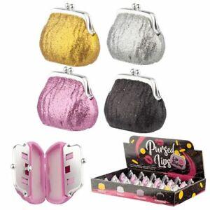 LIP Balm Set Glitter Purse Holder Girls Flavours Assorted Fruit Vanila PRESENT👄