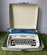 Vintage 1970s Imperial Safari Typewriter Blue With Protective Hard Case
